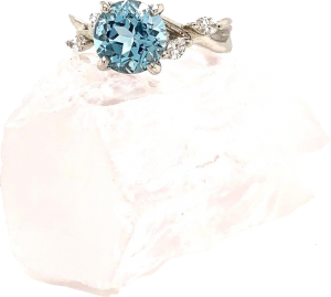 New Year's Eve - aquamarine 2ct diamond ring